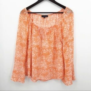 💛 Sanctuary Orange Blouse Bell Sleeve Keyhole Top